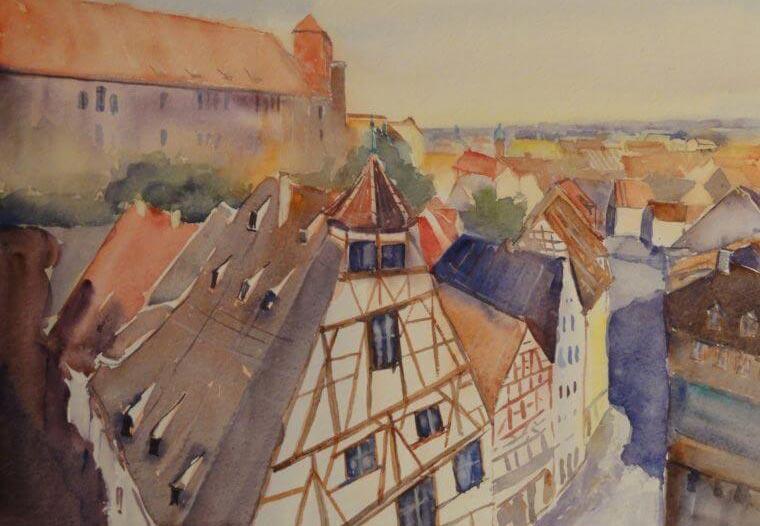 Nürnberg mit Aquarell gemalt, Angela Musil